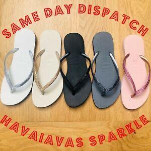 ORIGINAL For Havaianas Slim Sparkle Glitter Crystal Shiny Bling 8 Colour Summer