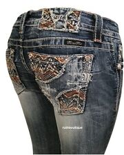 MISS ME SIZE 33 (15/16) EMBELLISHED ZIG ZAG BOOT JEANS JP8526B NWT $109.50