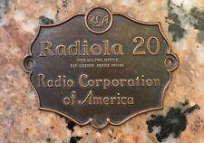 """Vintage '20s RCA Radiola Tube Radio FACE PLATE 3"""" X 2.25"""""""