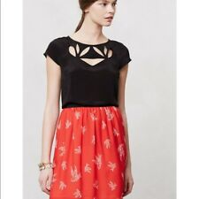 Anthropologie Maeve Black Cut Out Petal Top Size 8 new with tags $78