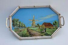 Tablett Serviertablett mit Hinterglasbild , Angler , Windmühle , Jugendstil