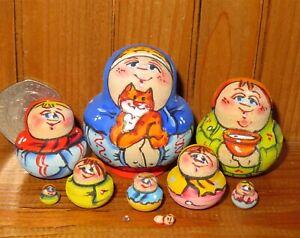 MINIATURE Matryoshka Russian nesting dolls 10 Ginger Cat Russian tiny signed ART