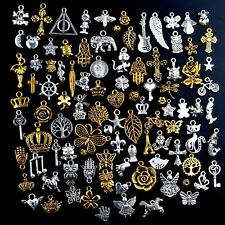 10 Mixed Charms Antiqued Silver Gold Pendants Random Assorted Lot Jewelry