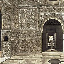 Alhambra Sala Due Sorelle Spagna Siviglia Incisione Acquaforte