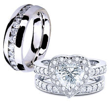 Hers CZ Sterling Silver Heart Shaped His Stainless Steel Wedding Ring Band Set