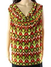 123b5173baa Kasper Green Orange Womens Size 1x Plus Print Drape Neck Tank Top 124