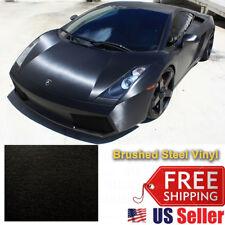 """120""""x60"""" Premium Black Brushed Aluminum Vinyl Wrap Sticker Decal Film 10FTx5FT"""
