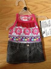 LuLu Pink DRESS Black Denim Skirt Pink Print Top with Fringe Puppy/Dog xs