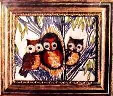 *VINTAGE CREWEL*1977 CARON * FRAMED THREE OWLS * Small KIT + FRAME