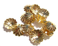 2337FN Bead Cap, Gold ptd Brass, 10mm, Scalloped Edge for 12-14mm bead,  20 Qty