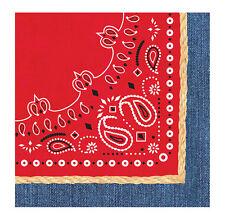 192 RED BANDANNA PAPER NAPKINS  ~BBQ ~ HARLEY ~ WESTERN ~PICNIC ~ SAVE 40%!