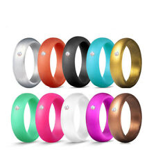 Women's Wedding Engagement Band Silicone Rings Sports Rubber Size 4-10