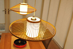 Handmade Bamboo Lampshade, Round Pendant Ceiling Shade, White Film Brown L006L