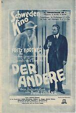 IFK: 79: Der Andere, Fritz Kortner, Käthe von Nagy, ( Schweden Kino Premiere )