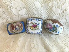 Lot of 3 New marked Limoges Hinged Lid Metal Clasp & Trim Gift Trinket Box