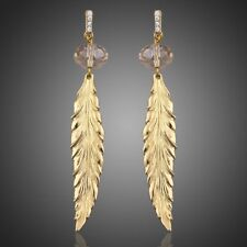 NEW SPARKLING LEAF DROP GOLD COLOR AUSTRIAN CRYSTAL DANGLING EARRINGS JEWELRY