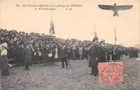 CPA AVIATION AVIATION LES TRIBUNES OFFICIELLES ET LE PASSAGE DE VEDRINES DE PARI