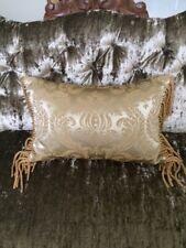 "Gold Brocade Fringe Rectangular Throw Decorative Pillow 11"" by 16"""