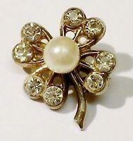 broche bijou vintage petite taille trèfle porte bonheur cristal perle * 5125
