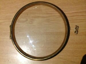VINTAGE BRASS CLOCK BEZEL ROUND CONVEX GLASS CONCEALED HINGE FITTINGS 160mm Dia