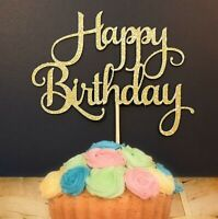 Happy Birthday Cake Topper, Party Decoration Sign, Bunting Glitter Sparkle.