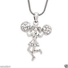 W Swarovski Crystal CHEERLEADER Team CHEER Champion Pendant Necklace