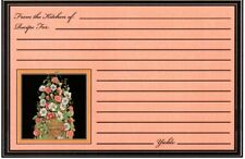 Peach & Black Lined Morning Glory Flower Recipe Cards - Set of 20 - New