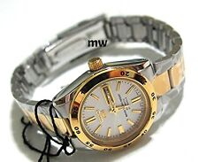 Authentic New WOMEN'S SEIKO 5 SPORTS TWO TONE AUTOMATIC DAY/DATE WATCH SYMG42K1