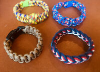 Men's Rope Woven Braided Wristband Set of 4 - Blues, Red, Brown, Yellow
