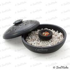"Black Soapstone Incense Burner - 4"" Round Bowl Censer for Resin Charcoal (JL680)"