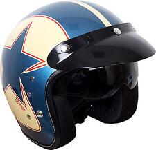 Duchinni D501 Open Face Motorcycle Helmet With Peak Sun Visor  - Garage Blue/Red