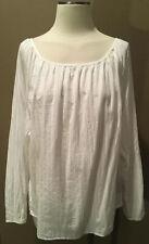 H&M Sz 4 S M L White Cotton Peasant Blouse Long Sleeves