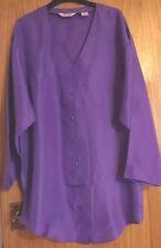 Vintage 100% Pure Silk Purple Ladies Tunic/ Blouse Size M Plus 16-18 Brand New