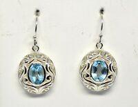 925 Sterling Silver Blue Topaz Gemstone Earring 6.17gm Jewelry CCI