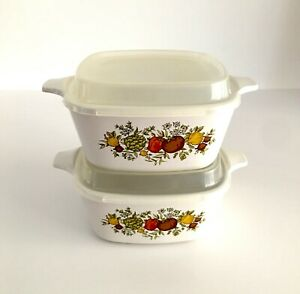 Corning Ware Casserole Dishes with Plastic Lids, Spice  of Life, Set of Two