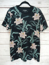 Mens T-Shirt Black Floral By Pull&Bear Short Sleeved Cotton Medium 38in. Relaxed