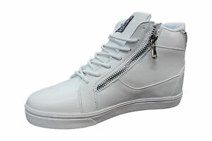 Sneakers Shoes Man Eco-Leather White Zip Laces Sports Casual Free Time