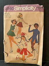 Simplicity Sewing Pattern1970s Teens Cheerleading and Skating Uniform Sz 5-6 7-8