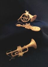 Holiday Instruments Silver Glittter Bows Plastic Hanging Ornaments Set Of 3 NEW
