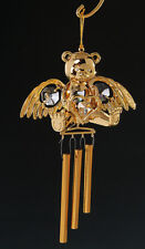 Angel Bear FIGURINE WIND CHIME 24KT GOLD PLATED WITH AUSTRIAN CRYSTALS