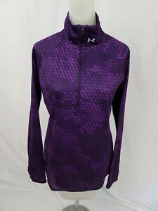 UNDER ARMOUR Run MILEAGE Purple Graphic Print 1/2 Zip Pullover Women Small EUC
