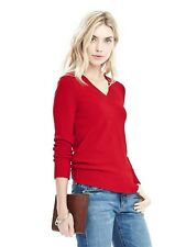 Banana Republic Italian Wool Button Back Sweater, NWT, Large Petite, Red