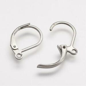 20 x 304 stainless steel lever back earrings hooks hoop earring findings 16mm