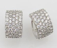 14K Real White Gold 8mm Width Fancy Cluster Domed Hoop Huggies Earrings