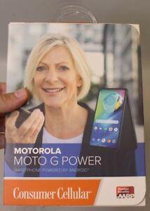 *NEW* CONSUMER CELLULAR MOTOROLA MOTO G POWER 64GB XT2041-6 - SMOKE BLACK