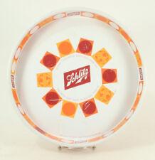 "Schlitz Brewing Co Beer 12"" Metal Serving Tray Platter White/Orange Vintage"