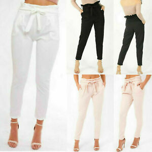 Womens Ladies Belted Paper Bag Trousers Tie Up High Waist Cigarette Slim Bottoms