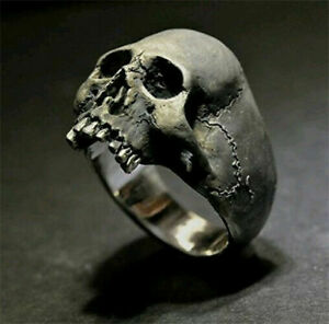 Fashion 925 Silver Viking Skull Rings for Men Punk Party Jewelry Gift Size 6-13
