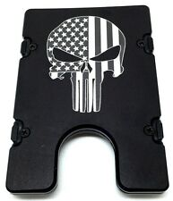Punisher Skull, Flag   BilletVault Wallet Aluminum RFID protected black anodized