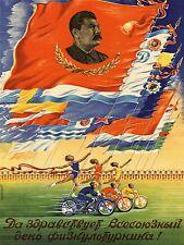 PROPAGANDA STALIN SOVIET UNION FLAG SPORT COMMUNISM ART POSTER PRINT LV7041